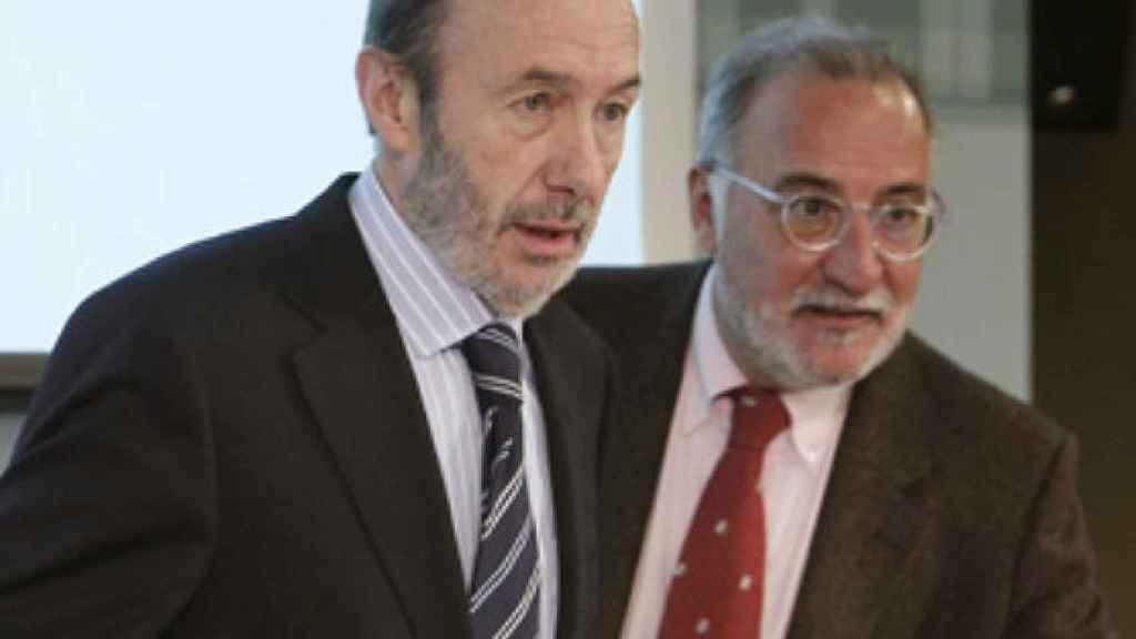 Pere Navarro junto a Alfredo Pérez Rubalcaba durante el Gobierno de José Luis Rodríguez Zapatero.