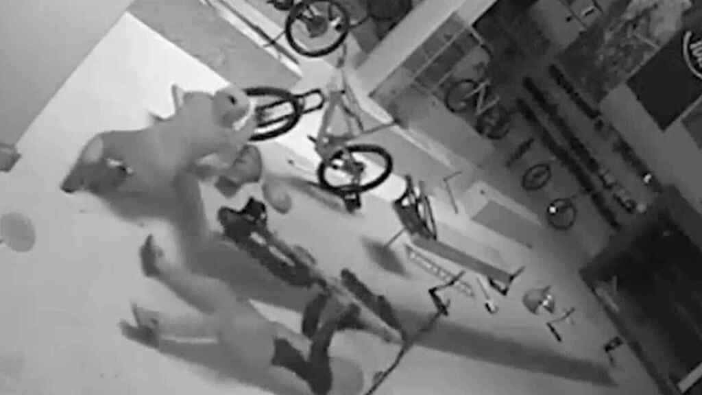 Las cámaras de seguridad de LTMRacing, una tienda especializada, captaron el robo de las 80 bicicletas.