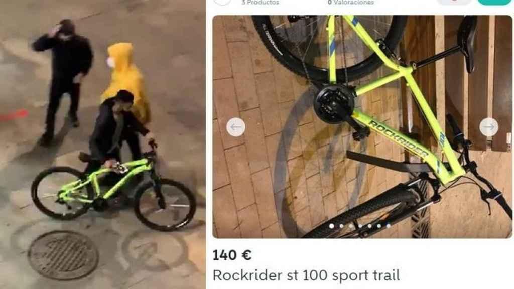 A la izquierda, una bicicleta sustraída durante un saqueo en Barcelona. A la derecha, el anuncio.