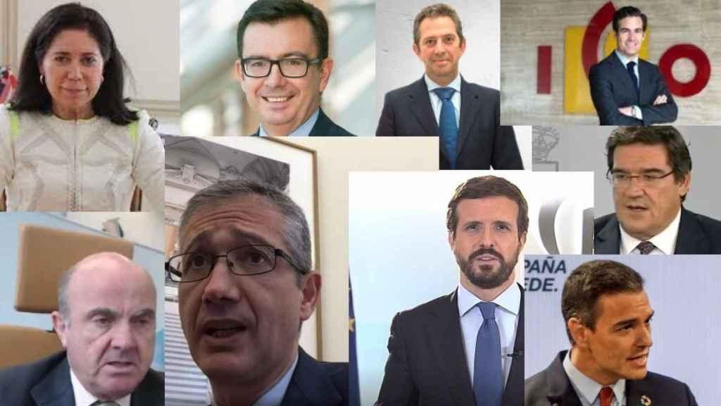 R. Sánchez Yebra, Román Escolano, I. Fernández de Mesa, P. Zalba, L. De Guindos, P. Hernández De Cos, P. Casado, J. L. Escrivá y P. Sánchez.