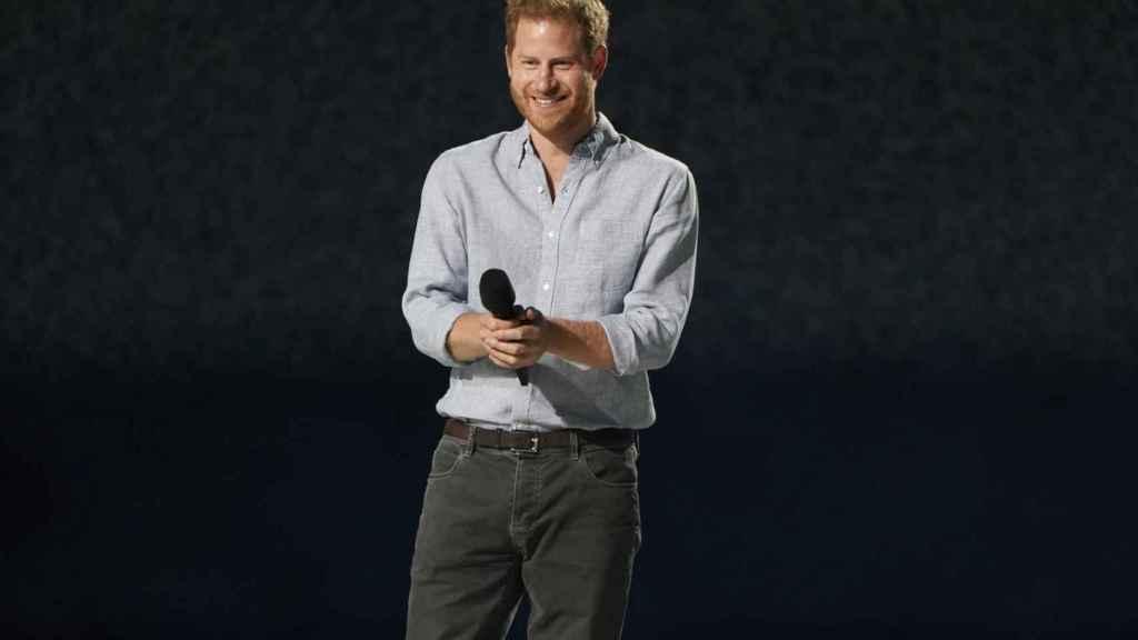 El príncipe Harry, durante su discurso en el concierto Vax Live.