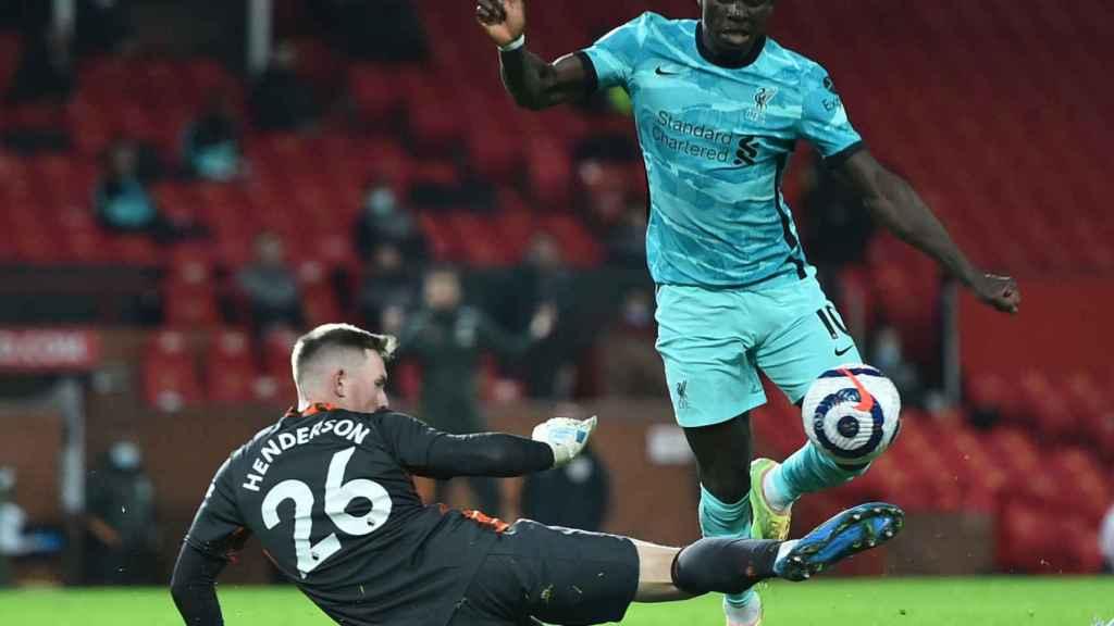 Sadio Mané en su partido contra el Manchester United