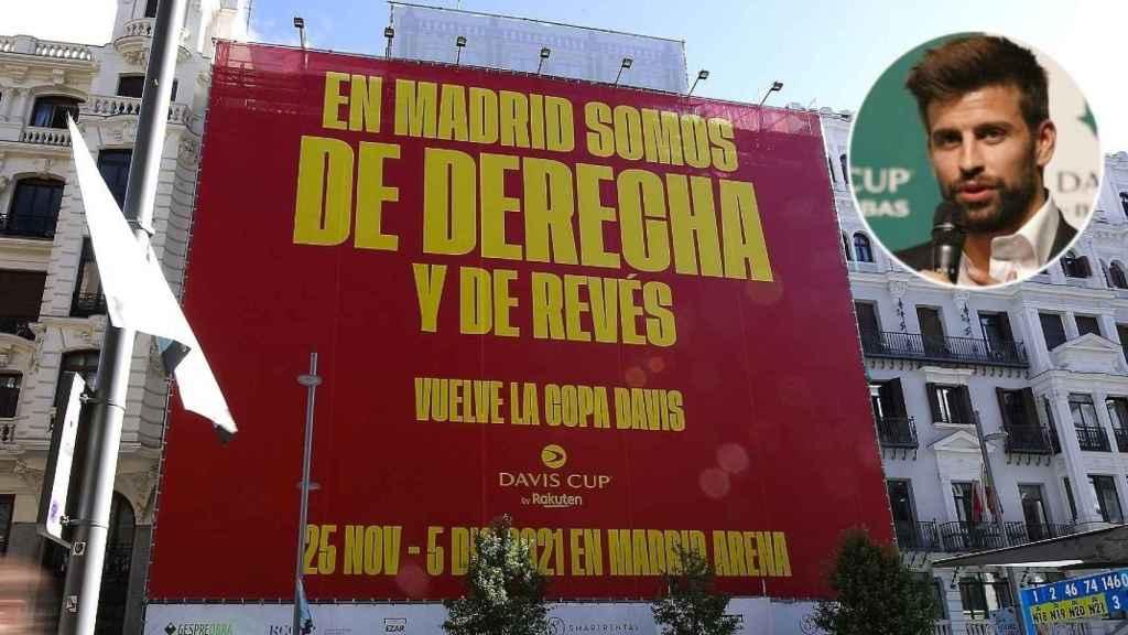 La lona de la Copa Davis de Gerard Piqué en Madrid