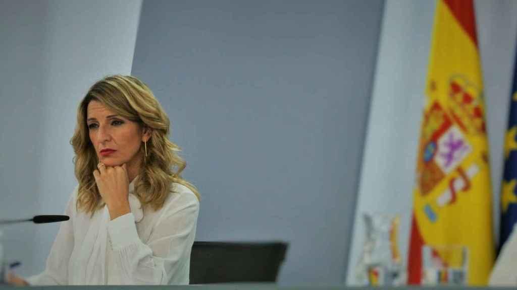 Yolanda Díaz, vicepresidenta tercera del Gobierno, en la sala de prensa de Moncloa.
