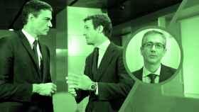 Pedro Sánchez, Pablo Casado y Pablo Hernández de Cos.