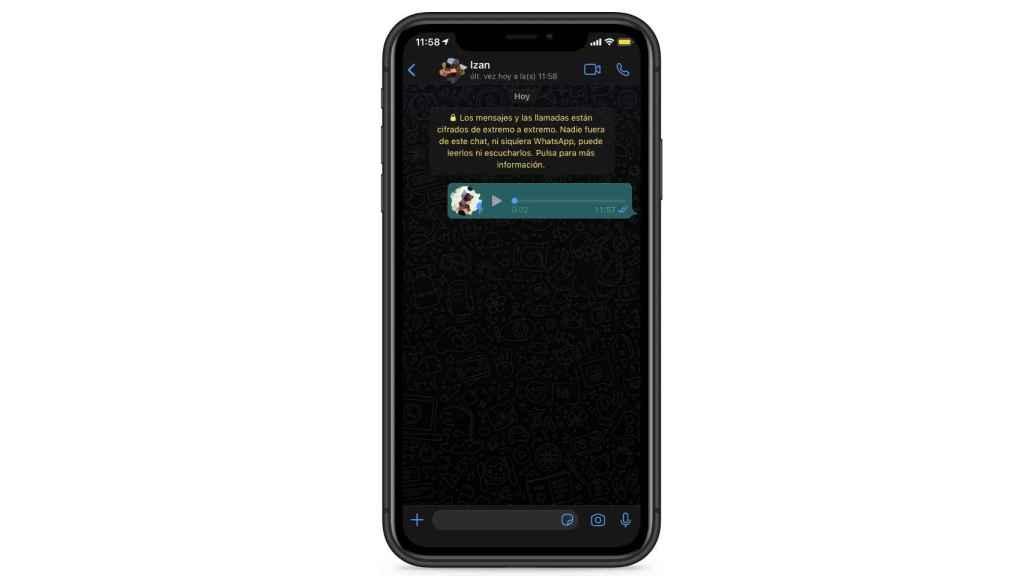El doble tic azul de WhatsApp en un audio.
