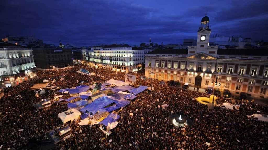 La plaza de Sol, en Madrid, durante el 15-M de 2011.