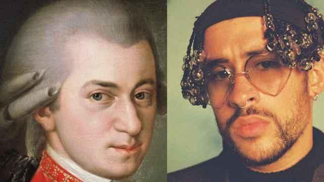 Mozart y Bad Bunny en un fotomontaje.