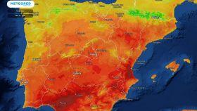 Temperaturas máximas previstas para el domingo 16 de mayo. Eltiempo.es.