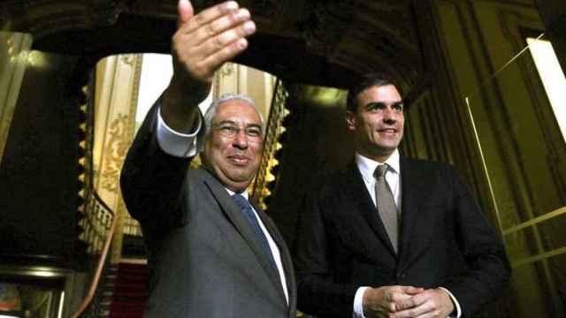 Pedro Sánchez, presidente del Gobierno, con el primer ministro portugués, António Costa.