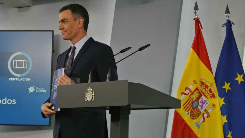 Pedro Sánchez, en Moncloa, presentando el Plan de Recuperación enviado a Bruselas.