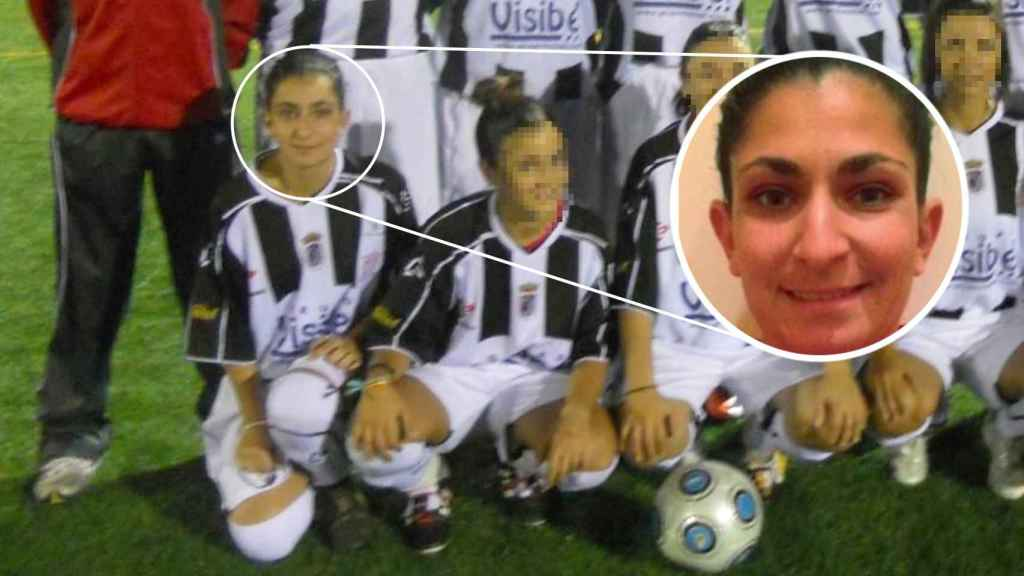 La sargento de artillería Débora Grau, como jugadora del CD Badajoz Femenino.