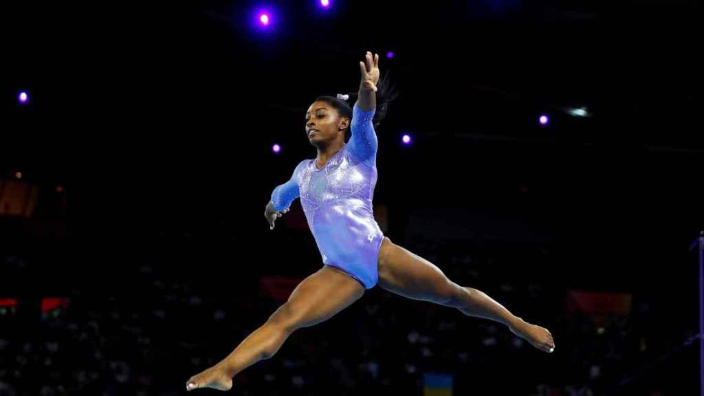Simone Biles, durante el Mundial de 2019