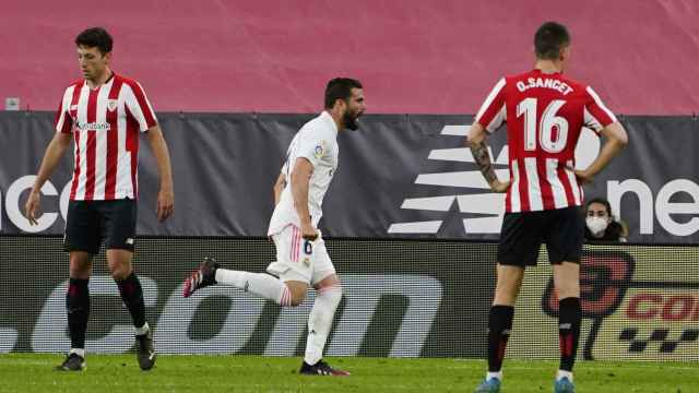Nacho Fernández celebra su gol frente al Athletic