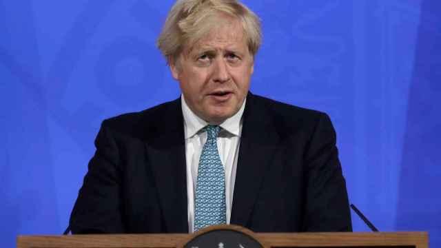 El primer ministro británico, Boris Johnson, en rueda de prensa.