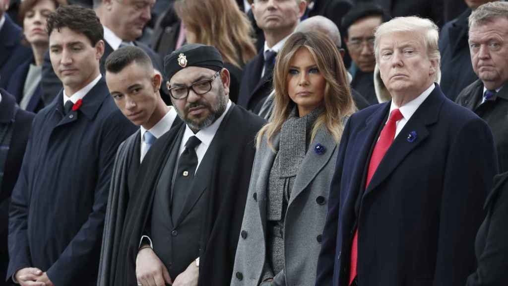 El príncipe Moulay Hassan junto al rey Mohamed VI, Melania y Donald Trump en París en 2018.
