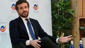 El líder del PP, Pablo Casado, en las jornadas de la Fundación Concordia y Libertad sobre 'Reto Demográfico'. EP