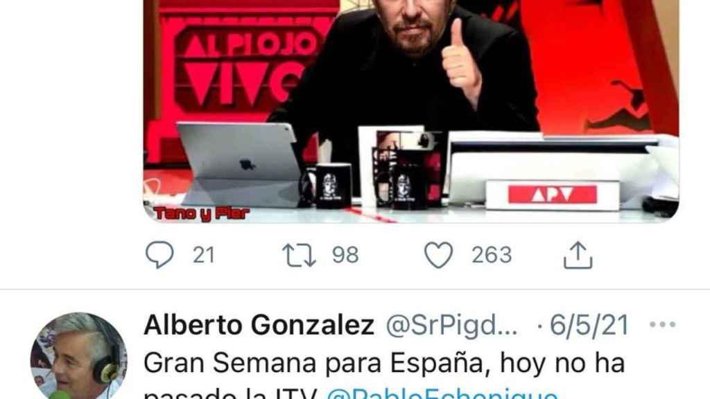 Tuit desaparecido de la cuenta de González.