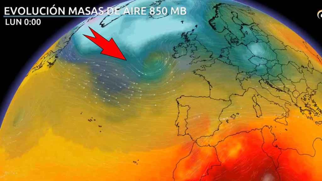 La llegada de los frentes lluviosos que harán descender las temperaturas. Eltiempo.es