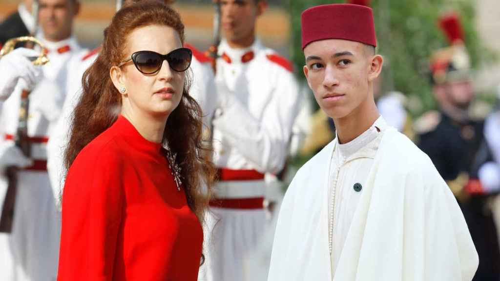 La princesa Lalla Salma y su hijo, el príncipe Moulay Hassan de Marruecos, en un montaje de Jaleos.