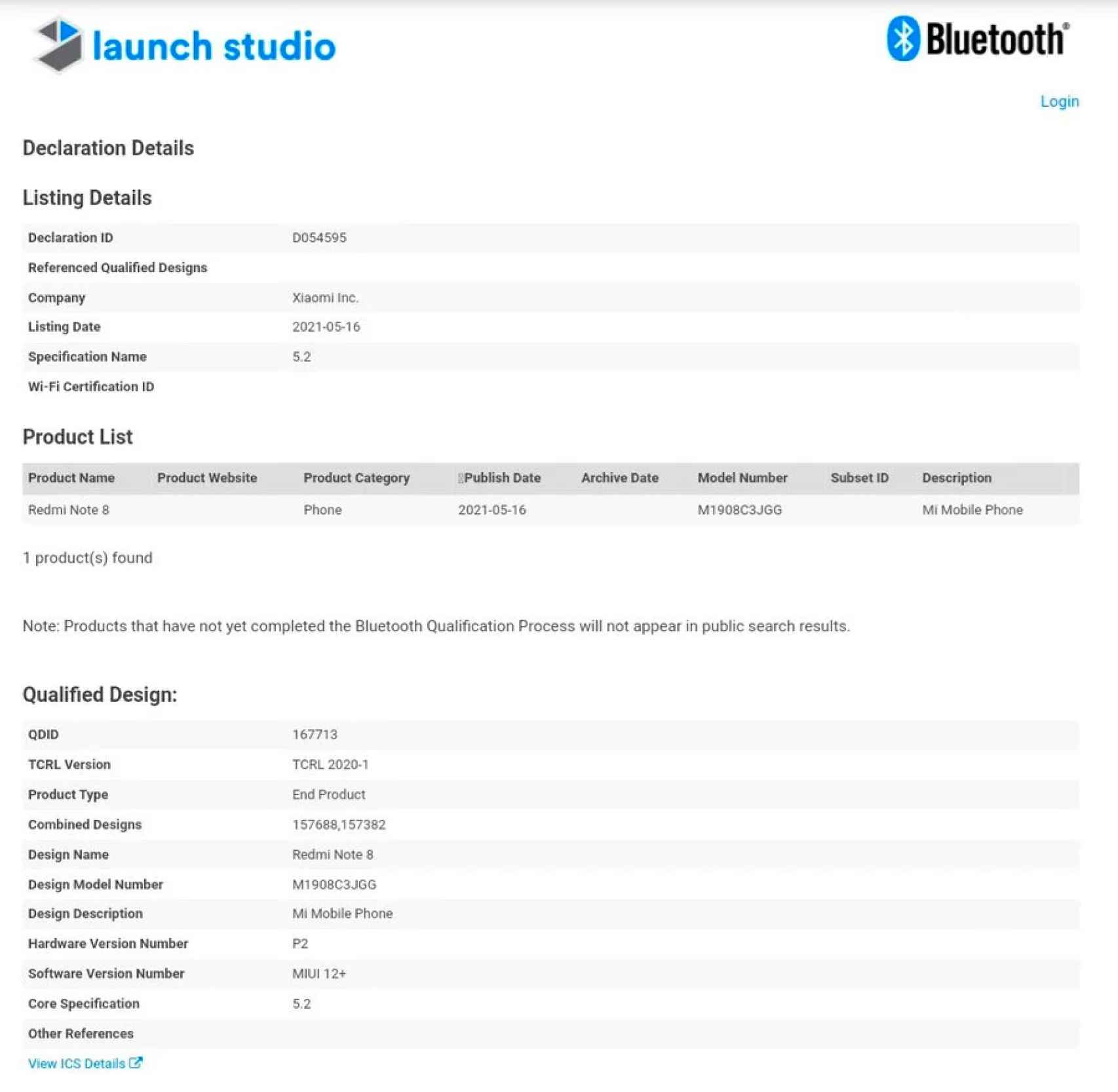 Hojade certificación bluetooth del Redmi Note 8 2021