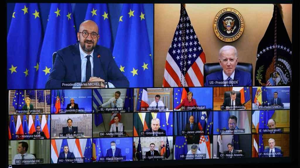 El presidente de EEUU, Joe Biden, durante su videoconferencia con los líderes europeos en marzo