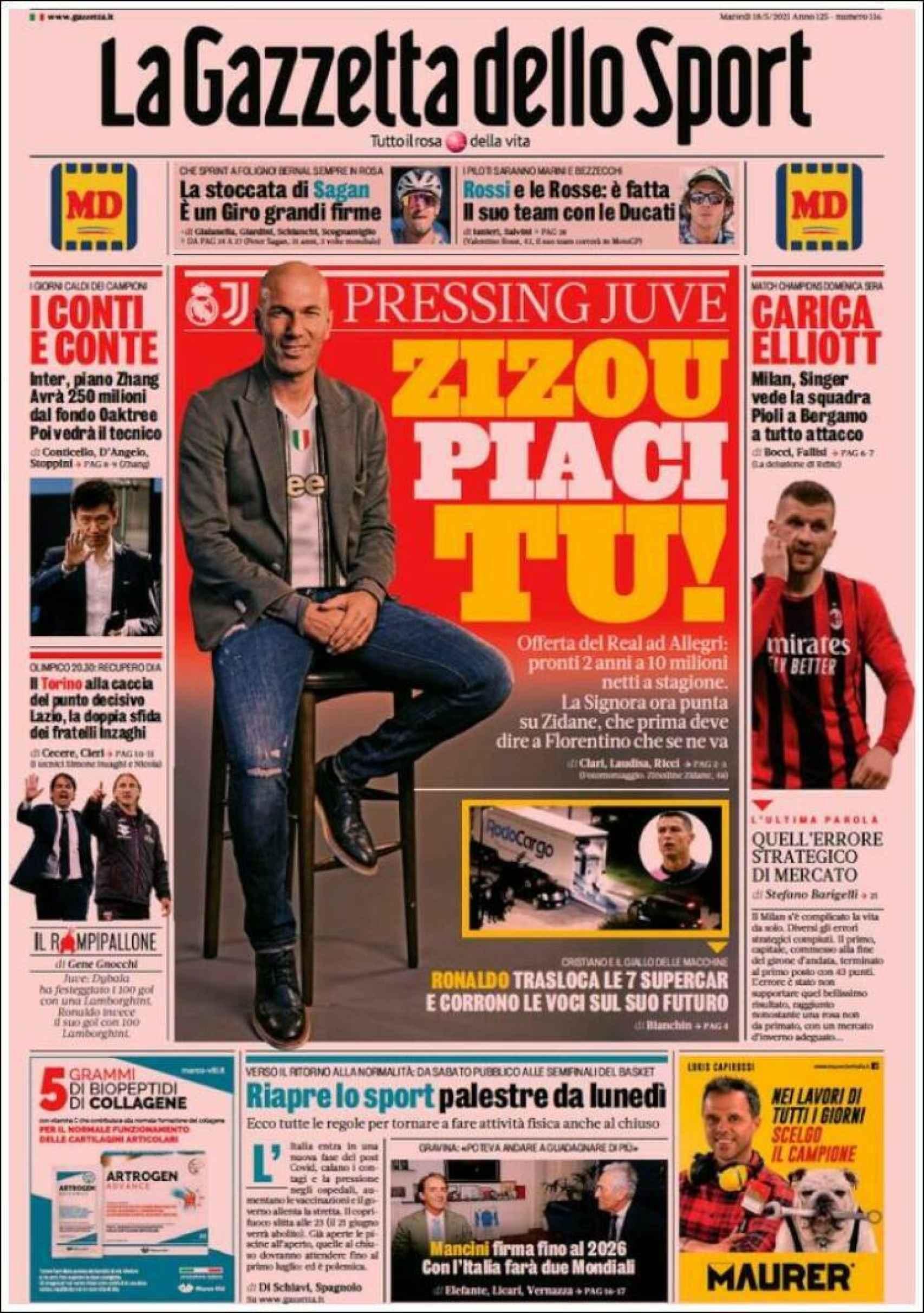 Portada La Gazzetta dello Sport (18/05/2021)