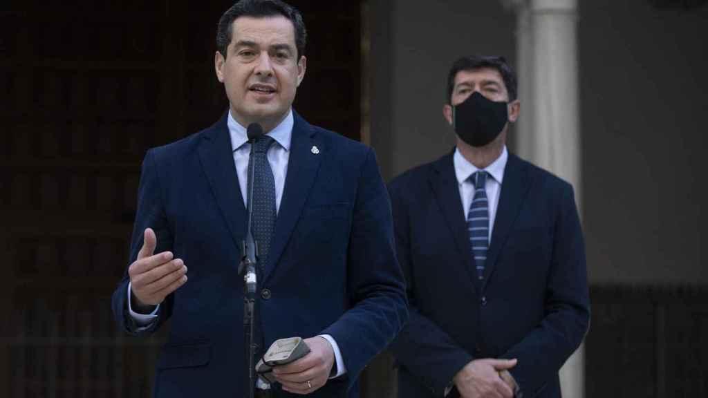 El presidente de la Junta y el vicepresidente, Juanma Moreno y Juan Marín.
