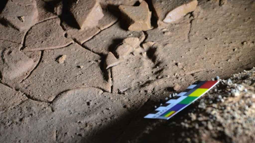 Una de las huellas prehistóricas halladas en La Garma.