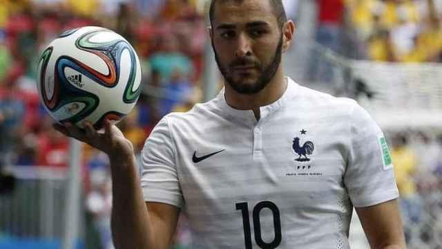 Benzema durante un partido de la selección de Francia
