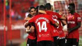 Los jugadores del Mallorca celebran un gol