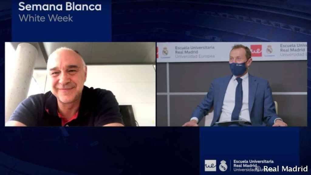 Pablo Laso, durante la Semana Blanca de la Escuela Universitaria Real Madrid Universidad Europea