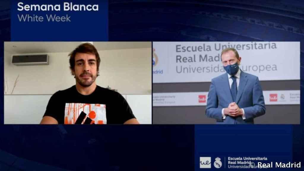 Fernando Alonso, durante laSemana Blanca de laEscuela Universitaria Real Madrid Universidad Europea