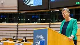 La comisaria de Interior, Ilva Johansson, durante su comparecencia este martes en la Eurocámara