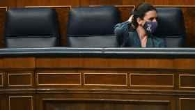 Irene Montero, este martes, sola en la bancada azul del Gobierno.