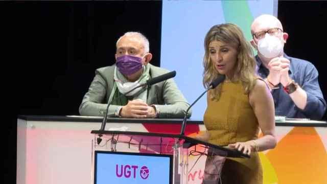 Yolanda Díaz, en su intervención ante Pepe Álvarez. EE