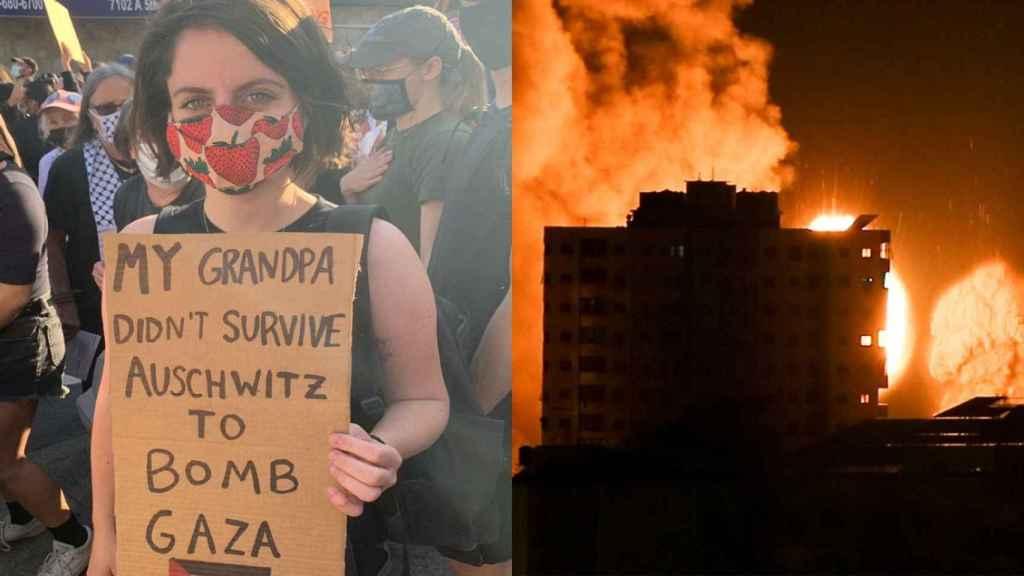 A la izquierda, Andréa Becker en una manifestación en Brooklyn. A la derecha, imagen de los bombardeos en Gaza.