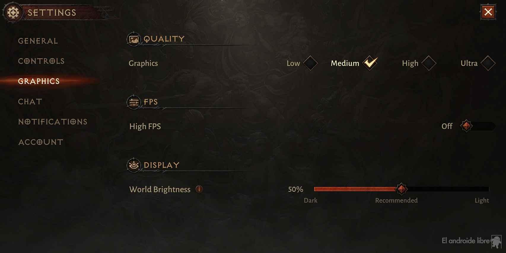 Ajustes gráficos en Diablo Inmortal