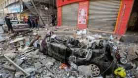 Las calles destruidas en Gaza.