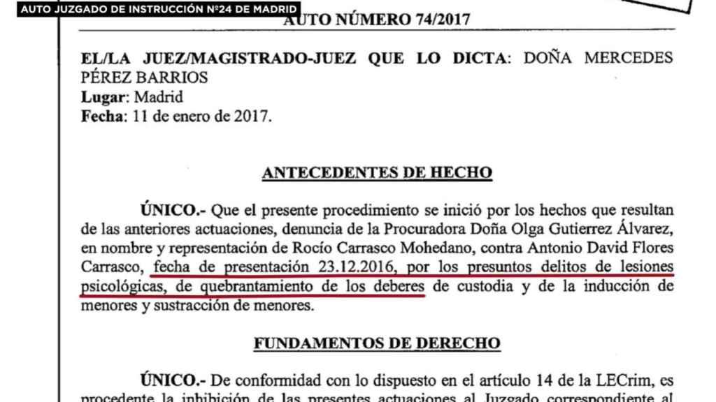 El informe sobre las lesiones psicológicas de Carrasco.