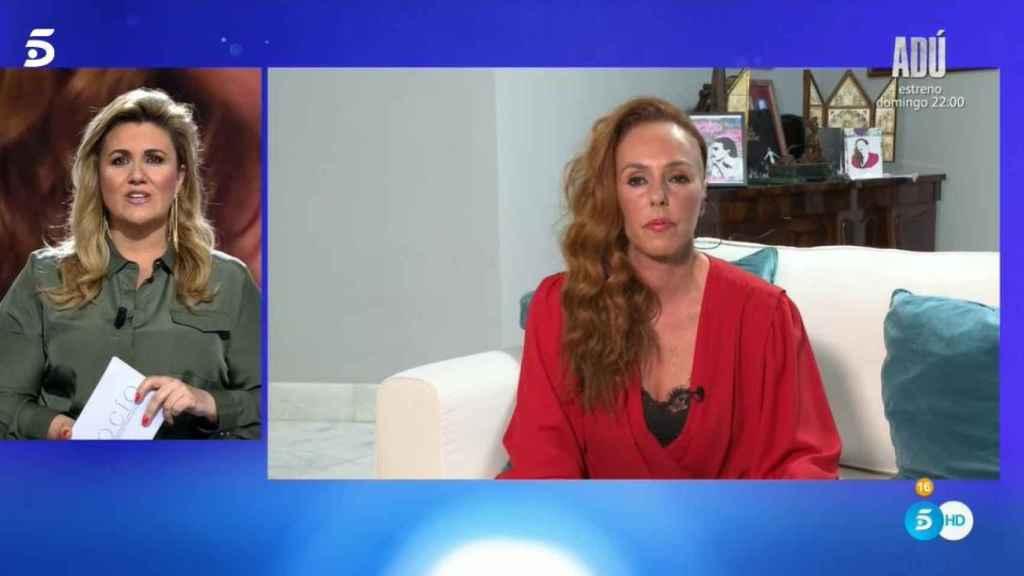 Rocío Carrasco durante su intervención en directo este miércoles por la noche.