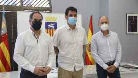 El alcalde Jaime Albero  y los regidores Santiago Román (Cs) Pablo Celdrán (PSOE).