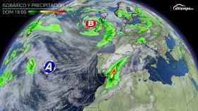 Las áreas afectadas por las precipitaciones para el domingo. Eltiempo.es
