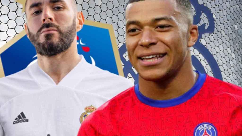Karim Benzema y Kylian Mbappé