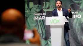 Santiago Abascal durante un mitin de Vox en Vigo.