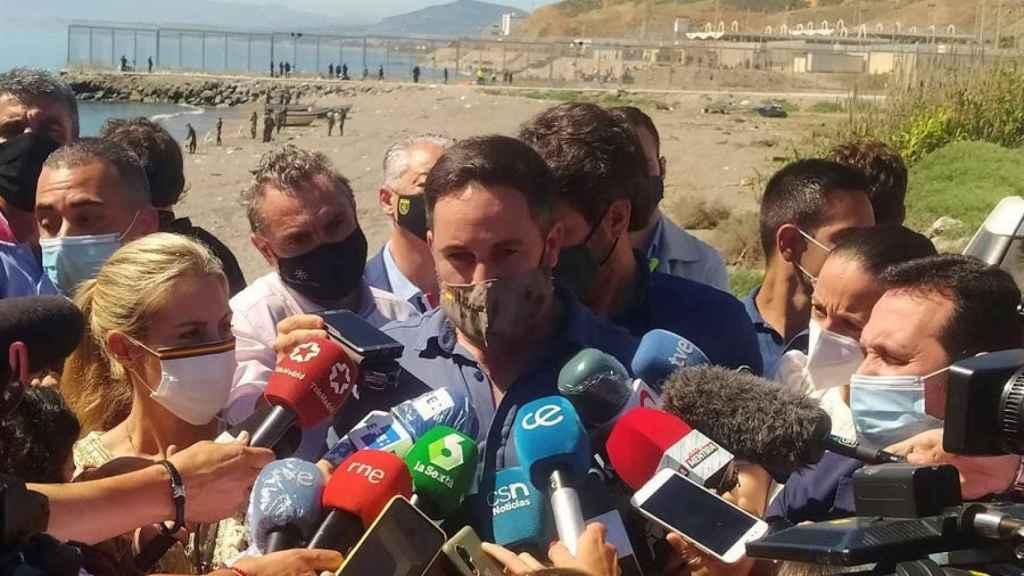 El presidente de Vox, Santiago Abascal, este miércoles en Ceuta. Efe