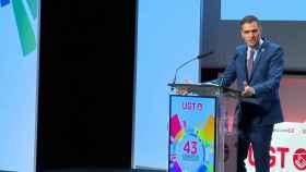 Pedro Sánchez, durante su intervención en el 43 congreso de la UGT, celebrado en Valencia. EE