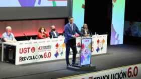 Pedro Sánchez, durante su intervención en el 43 Congreso Confederal de la UGT, celebrado en Valencia. EE