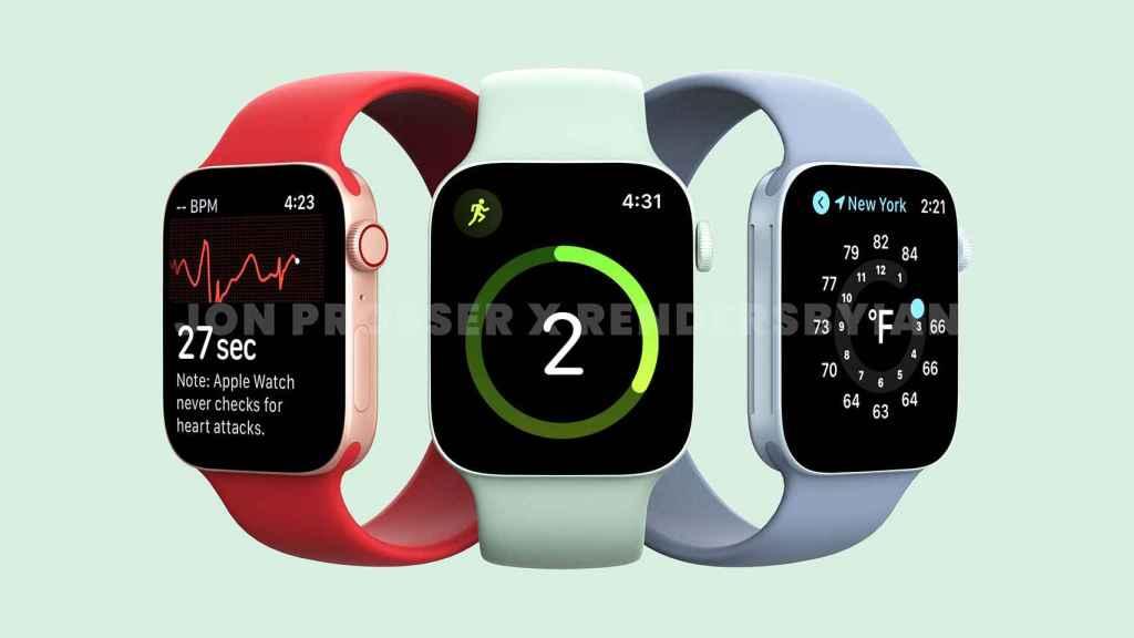 Render del futuro Apple Watch 7 según Prosser.