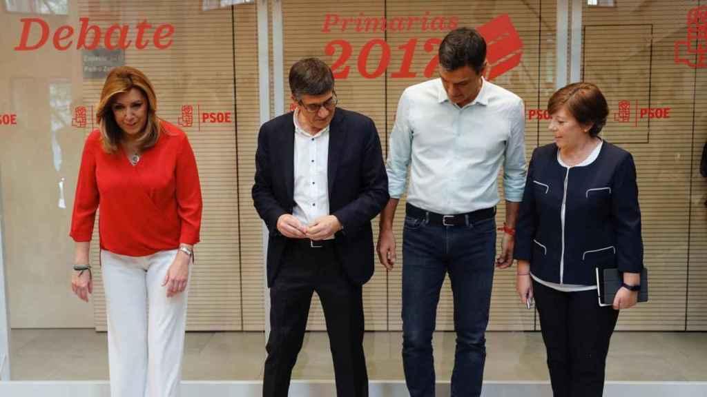 Susana Díaz, Pedro Sánchez y Patxi López en el debate de las primarias nacionales.